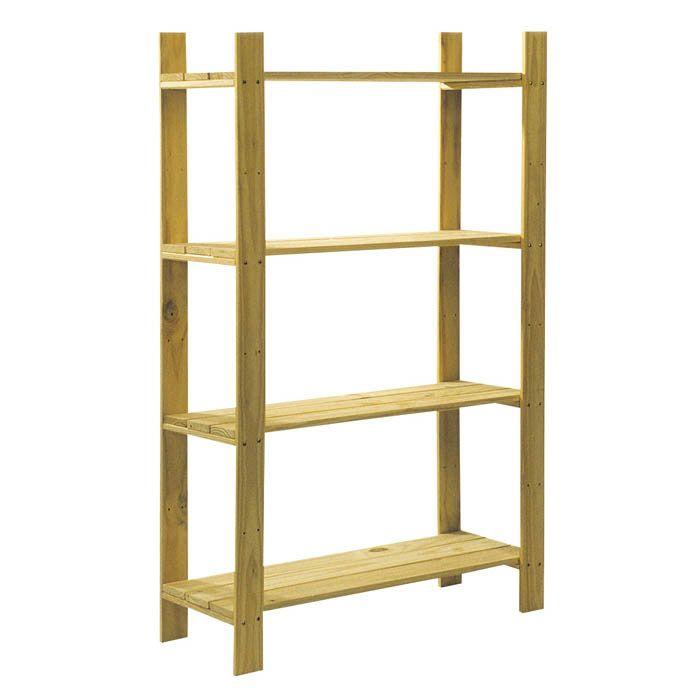 Core Natural Wood 4 Shelf Slatted Storage Unit 1200 X 800 X 300Mm