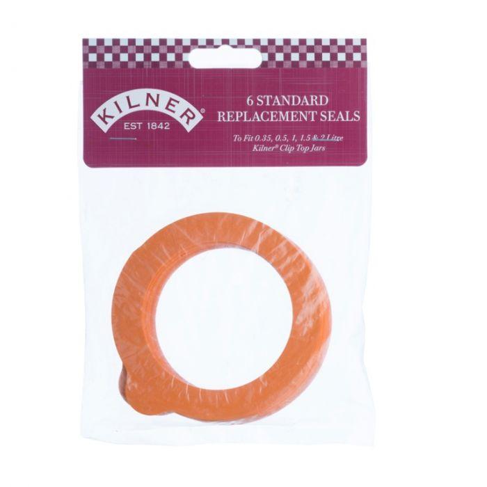 Kilner Replacement Rubber Seals - Orange 6 Piece