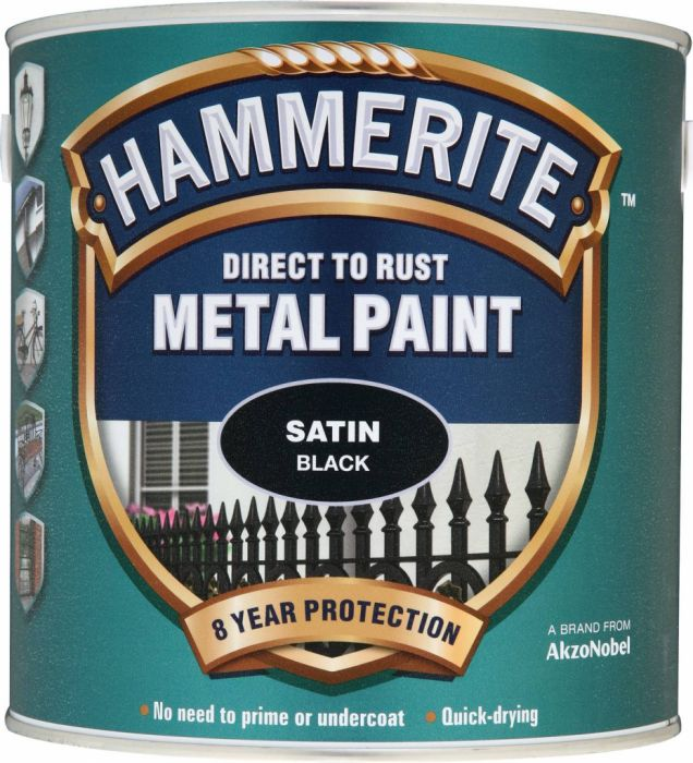 Hammerite Metal Paint Satin 2.5L Black