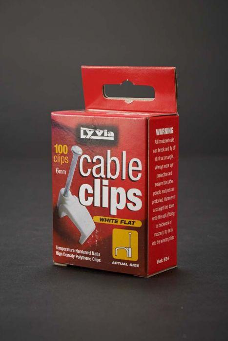 Dencon 6Mm White Flat Cable Clips Box 100 Box 100