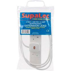 Supalec 4 Gang Extension Lead 2 Metre 13 Amp - Supressed