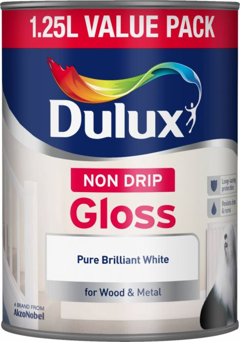 Dulux Non Drip Gloss 1.25L Pure Brilliant White