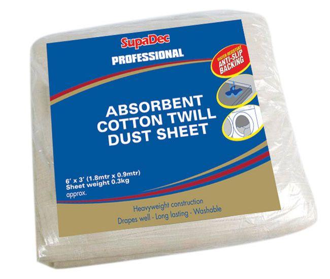 Supadec Absorbent Cotton Twill Dust Sheet 6 X 3 Water Resistant