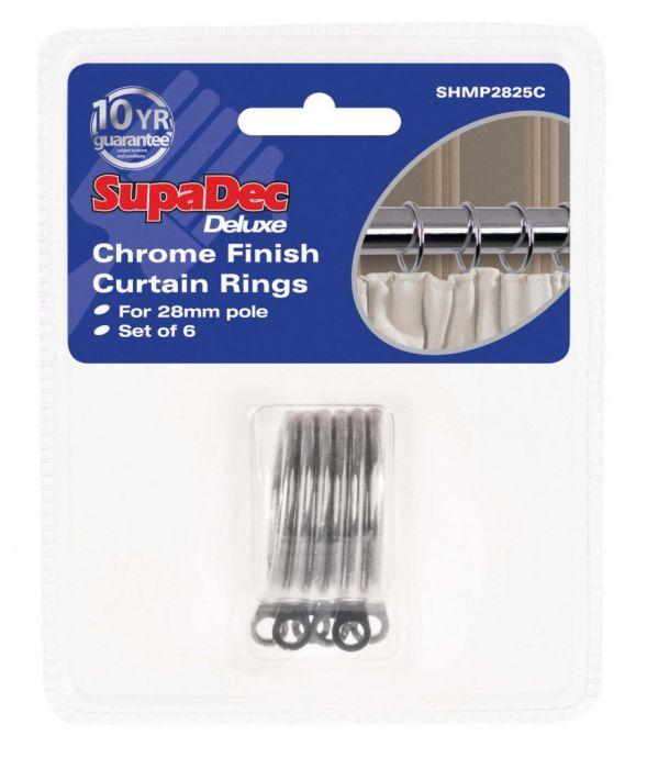 Supadec Curtain Rings Pack 6 Chrome Finish