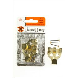 X Original Patent Steel Picture Hooks - Brass Plated (Blister Pack) No. 4