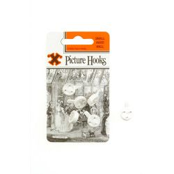 X Hard Wall Picture Hooks - White (Blister Pack) Small