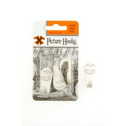 X Hard Wall Picture Hooks - White (Blister Pack) Large