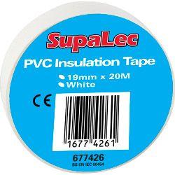 Supalec Pvc Insulation Tape Pack 10 White 20 Metre