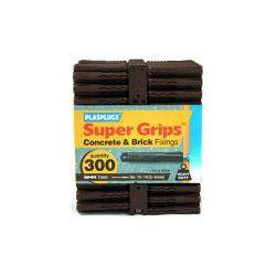 Plasplugs Supergrip Fixings - Brown 300 Pack