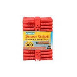 Plasplugs Super Grips Fixings - Red 300 Pack