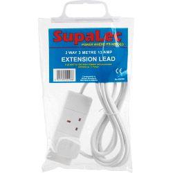 Supalec 2 Gang Extension Lead 3 Metre 13 Amp