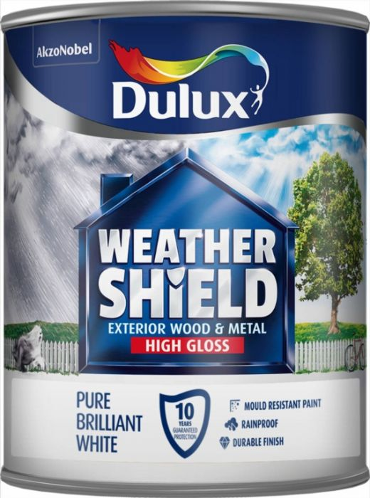 Dulux Weathershield Exterior Quick Dry Gloss 750Ml Pure Brilliant White