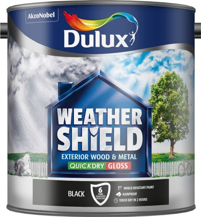 Dulux Weathershield Exterior Quick Dry Gloss 2.5L Black