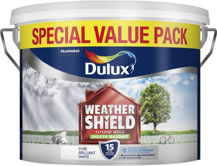 Dulux Weathershield Smooth Masonry Paint 7.5L Pure Brilliant White