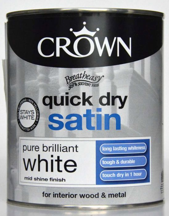 Crown Quick Dry Satin 750Ml Pure Brilliant White
