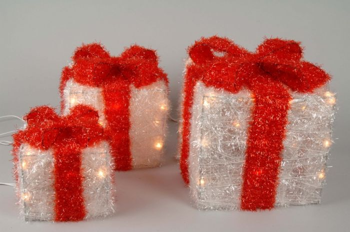 White Gift Boxes With Red Bow Indoor