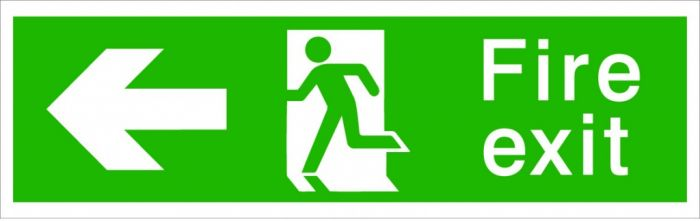 House Nameplate Co Fire Exit With Arrow Left Fire Exit Sign Pointing Left