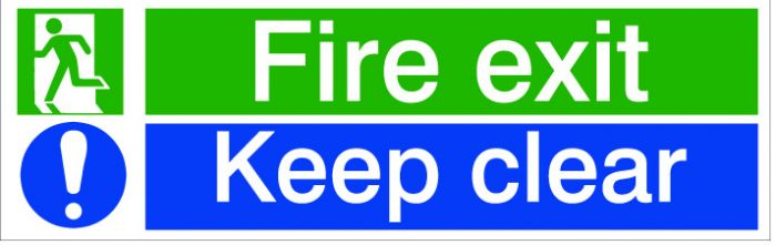 House Nameplate Co Fire Exit Keep Clear 8X12.5Cm
