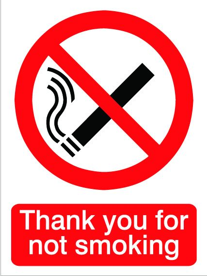 House Nameplate Co Thanks For Not Smoking 15X20cm