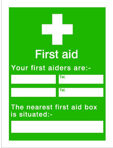 House Nameplate Co Your First Aiders 15X20cm