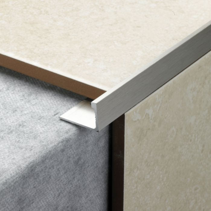 Tile Rite L Shape Tile Trim 2.4M X 12Mm Stainless Steel Effect