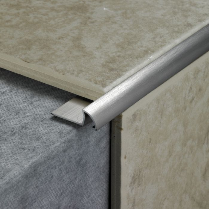 Tile Rite Tile Trim 2.4M X 8Mm Stainless Steel Effect