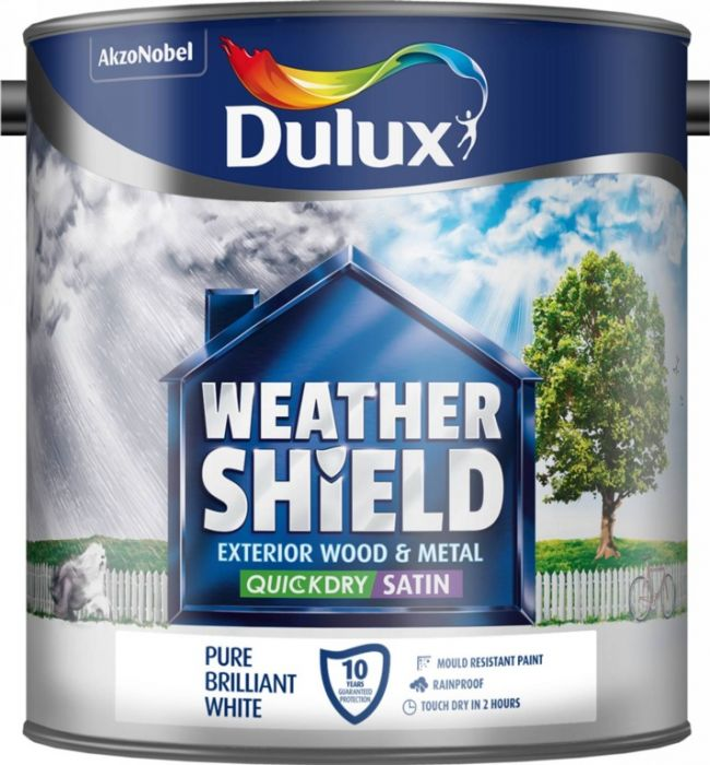 Dulux Weathershield Quick Dry Satin 2.5L Pure Brilliant White
