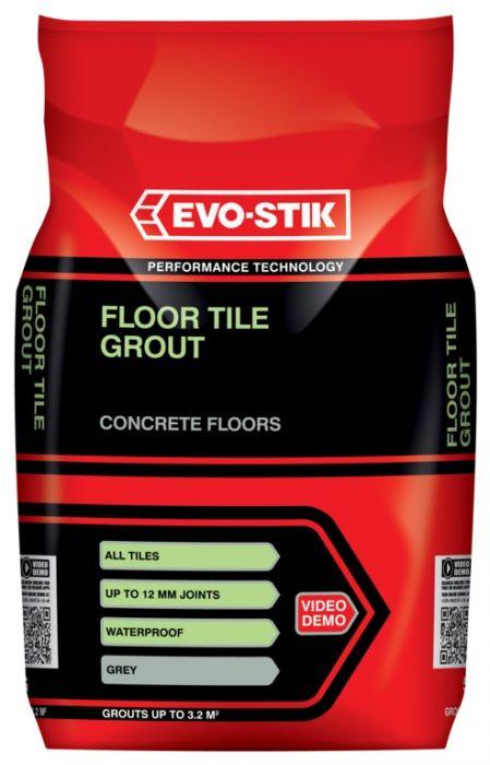 Evo-Stik Tile A Floor Fast Set Grout For All Tiles - 5Kg Grey