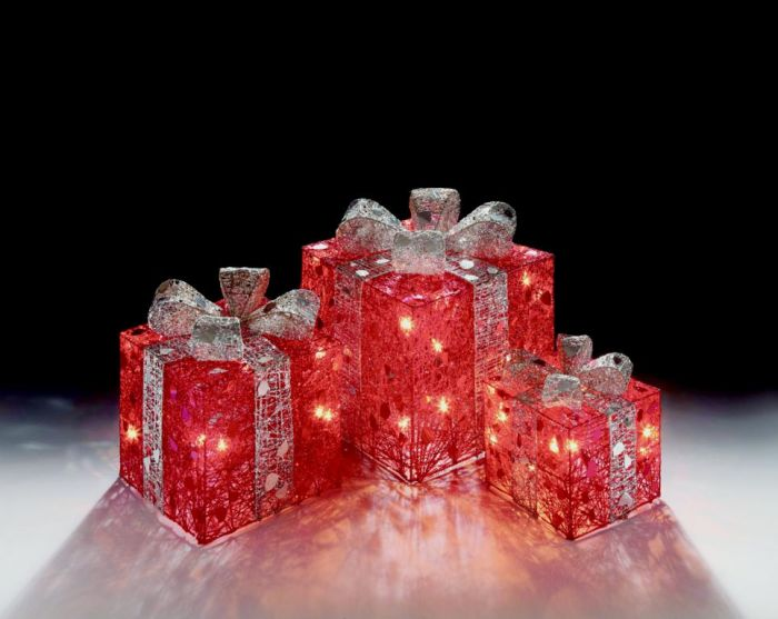 Red Parcel Fairy Lights With Red Bow