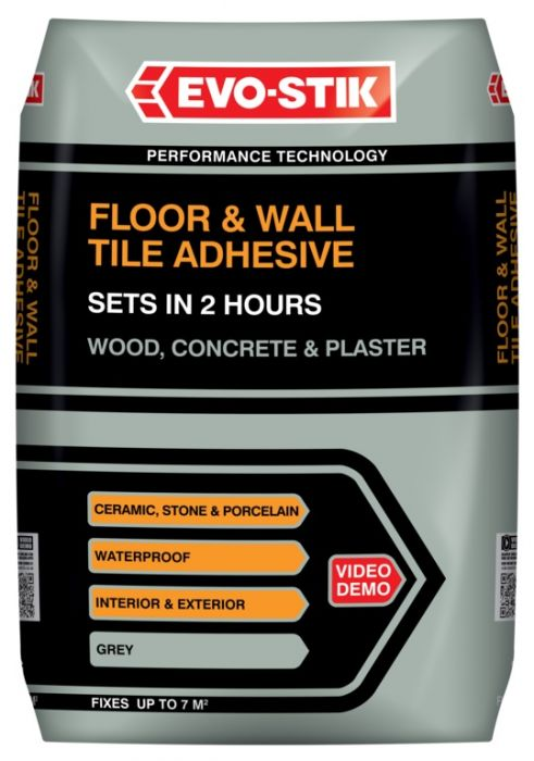 Evo-Stik Floor & Wall Tile Adhesive Fast Set For Wood Concrete & Plaster 20Kg