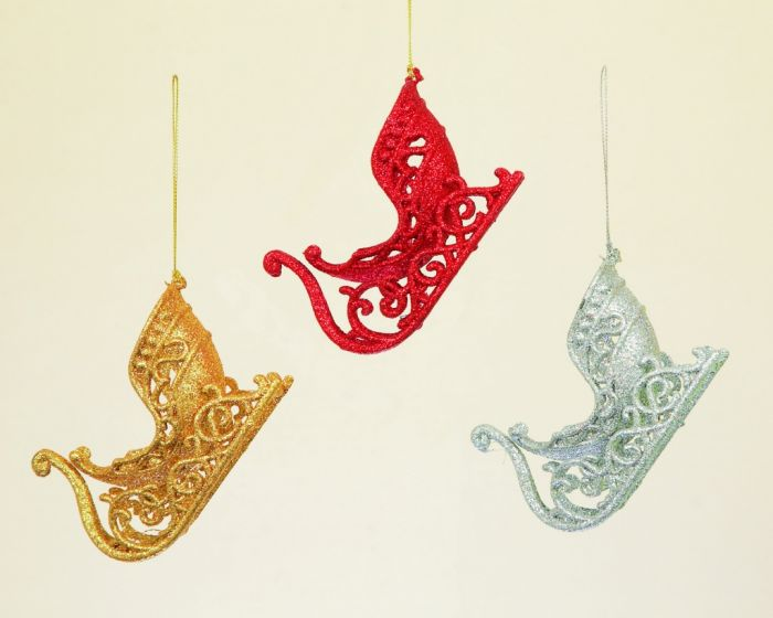 Glitter Sleigh 3 Assorted Red/Gold/Silver