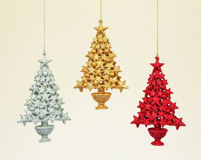 Glitter Star Tree 3 Assorted Red/Gold/Silver