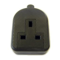 Dencon 13A Rubber Trailing Socket Black To Bs1363/A Bubble Packed