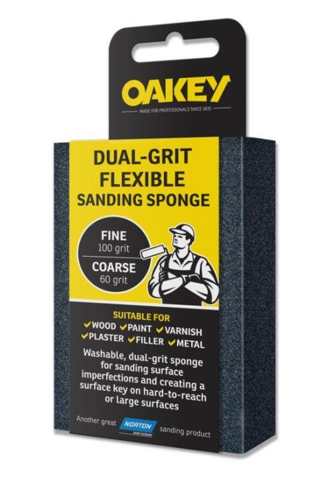 Oakey Dual-Grit Flexible Sanding Sponge - 90 X 65 X 25Mm Fine/Coarse