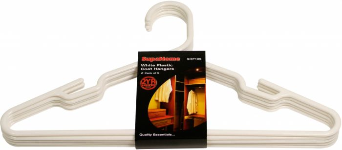 Supahome White Plastic Coat Hangers