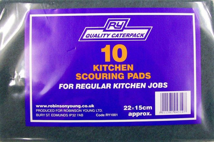 Caterpack 10 Green Kitchen Scouring Pads 23X15 Green