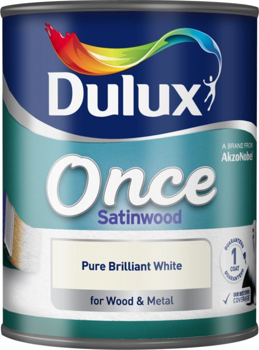 Dulux Once Coat Satin Wood 750Ml Brilliant White