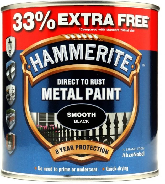 Hammerite Metal Paint Smooth 750Ml + 33% Free Black