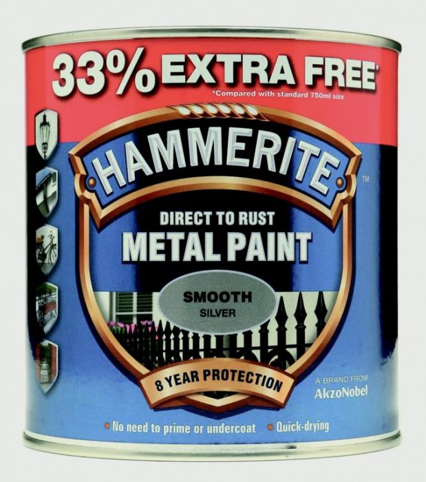 Hammerite Metal Paint Smooth 750Ml + 33% Free Silver