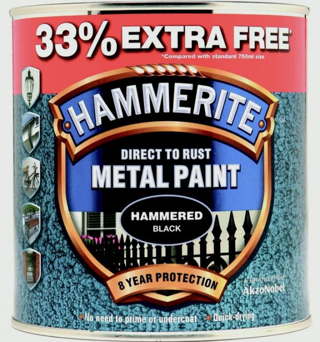 Hammerite Metal Paint Hammered 750Ml + 33% Free Black