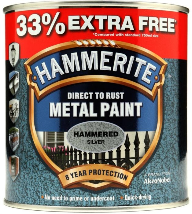 Hammerite Metal Paint Hammered 750Ml + 33% Free Silver