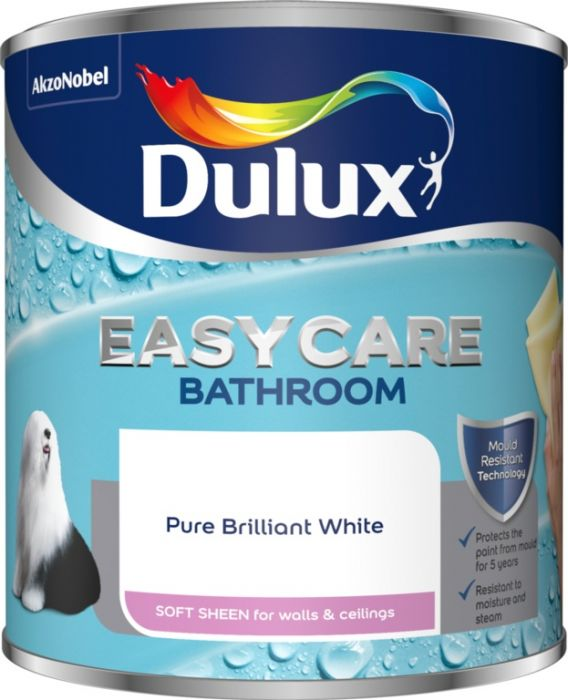 Dulux Easycare Bathroom Soft Sheen 1L Pure Brilliant White