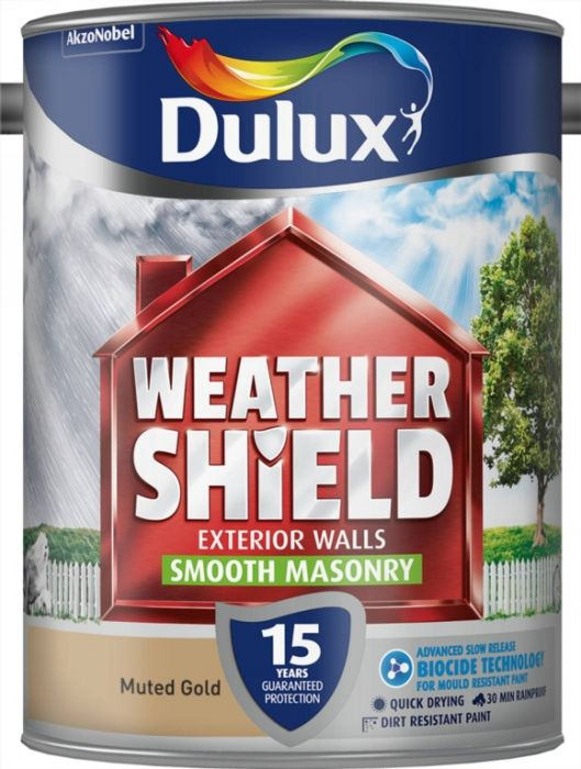 Dulux Weathershield Smooth Masonry Paint 5L Muted Gold