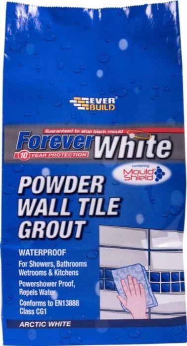 Everbuild Forever White Powder Wall Tile Grout 1.2Kg Artic White