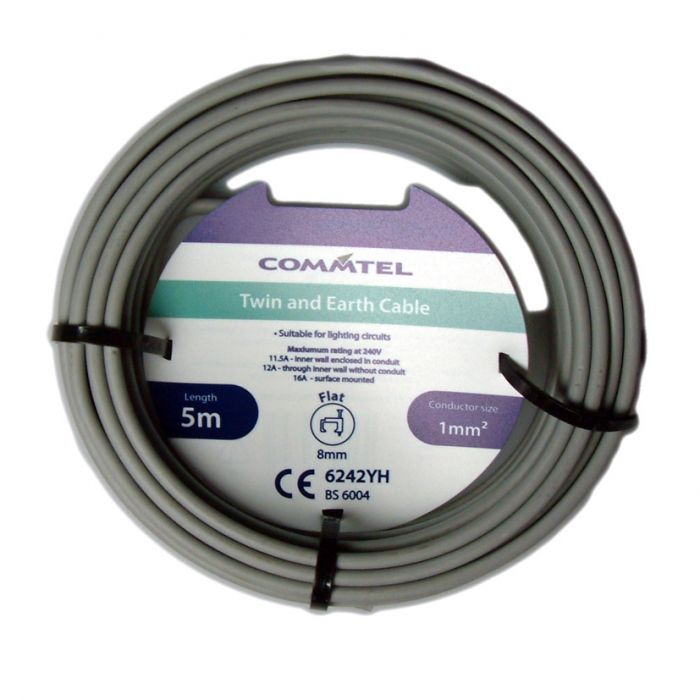 Commtel Twin And Earth Cable 5M 1Mm
