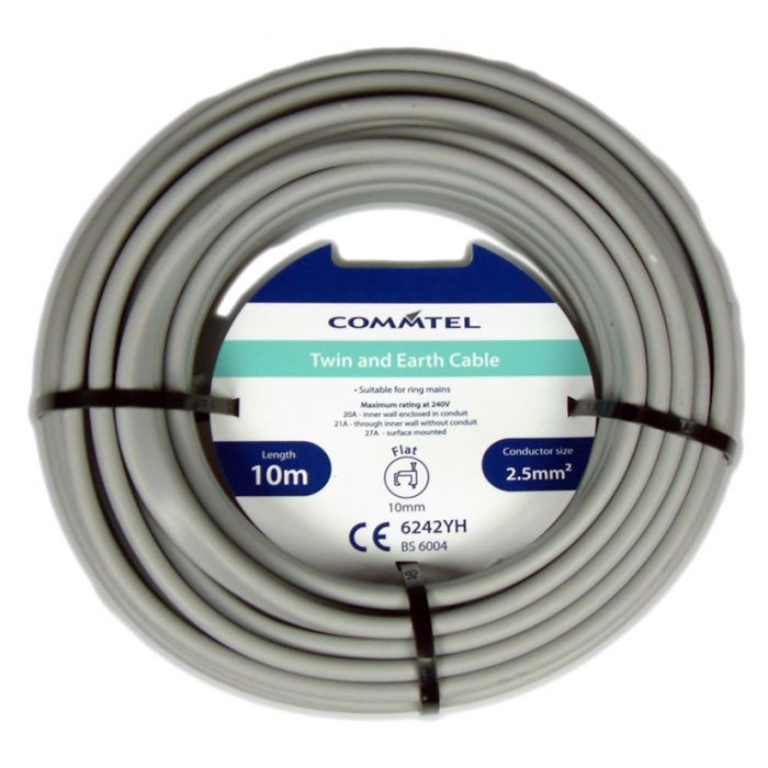 Commtel Twin & Earth Cable 10M 2.5Mm