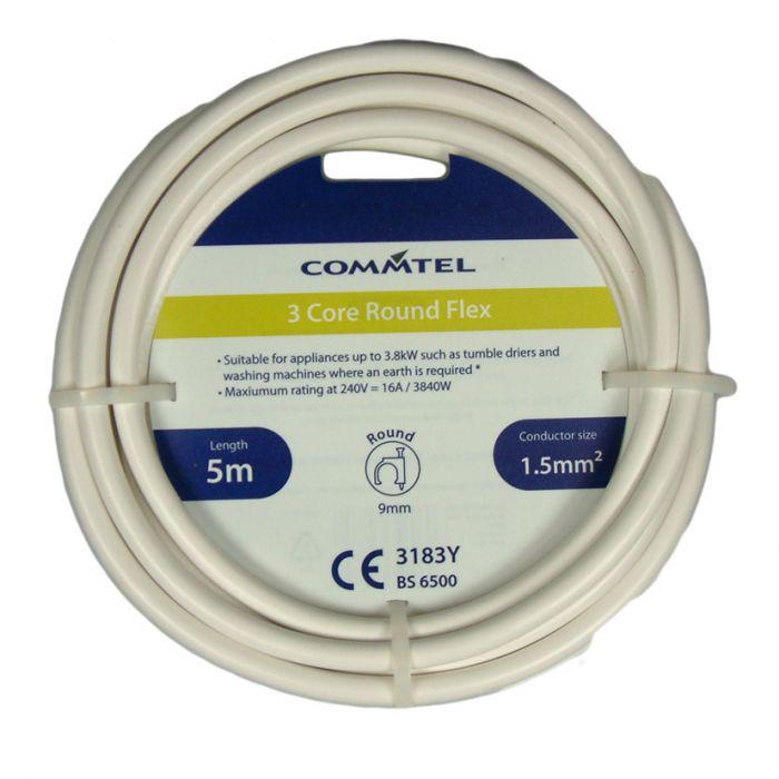 Commtel 3 Core White Flex 5M 1.5Mm2