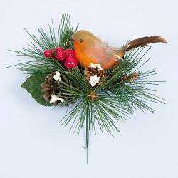 Robin With Pine Cone Pick