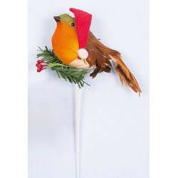 Robin With Santa Hat Pick