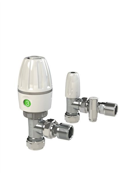 Pegler Yorkshire Angled Thermostatic Radiator Valve And Lockshield With Drain Off 15Mm